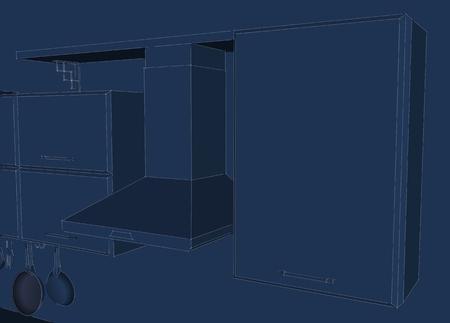 Hotte de cuisine avec placards et étagère 3d illustration bleu
