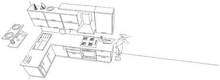 contemporary kitchen: Sketch drawing of 3d contemporary corner kitchen monochrome on white long background