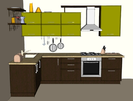 Sketch drawing of green and brown modern corner kitchen interior. Front view