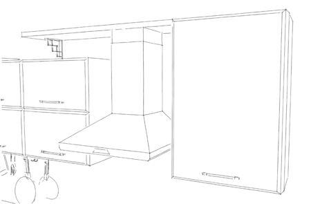 Hotte de cuisine avec armoires et étagère en noir et blanc