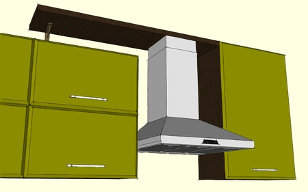 Sketch colored drawing of green and brown modern corner kitchen