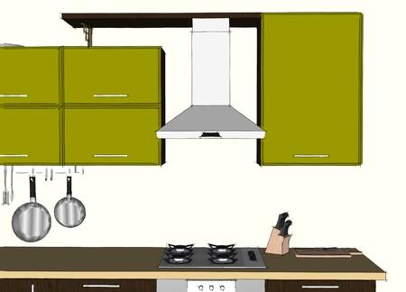 Croquis dessin abstrait intérieur de cuisine d'angle moderne vert et brun avec hotte aspirante et placards Banque d'images