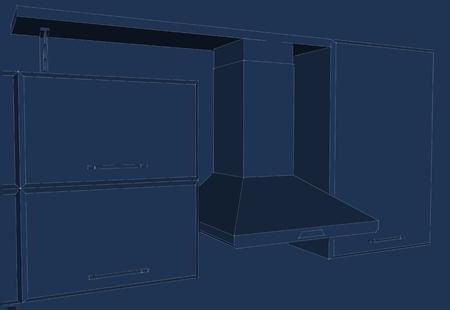 Hotte de cuisine avec armoires et croquis d'étagère. Lignes de crayon noir sur fond bleu. Vue isométrique.