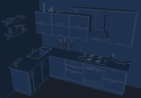 Blueprint d drawing of modern corner kitchen interior stock photo