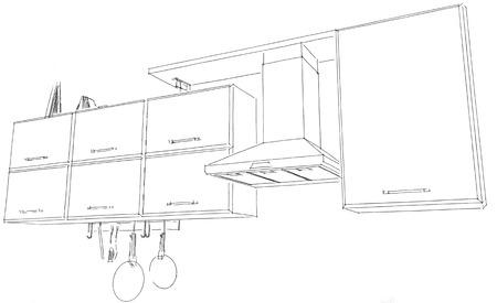 Hotte de cuisine avec armoires et croquis d'étagères. Lignes de crayon noir sur fond blanc.