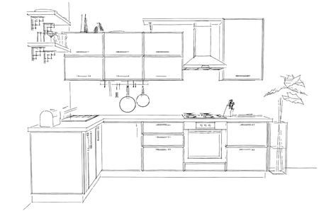 contemporary kitchen: Sketch outline drawing of 3d contemporary corner kitchen interior black and white
