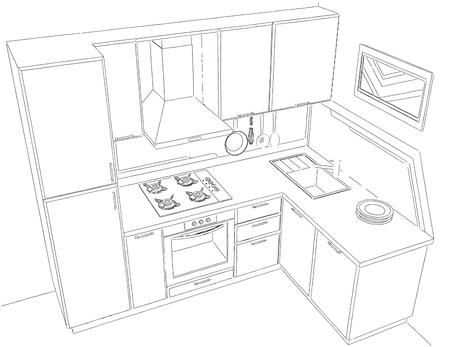 contemporary kitchen: Contemporary kitchen with built in fridge black and white pencil drawing. Stock Photo