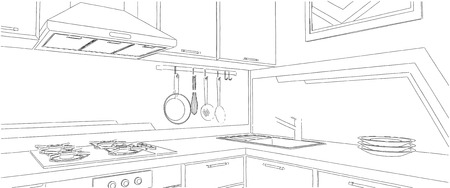 Black and white drawing of kitchen corner with sink, wall pot rack, fume hood, cooktop and geometry painting on the wall. Stock Photo