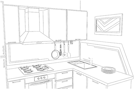 modern kitchen: Small corner kitchen interior freehand drawing.