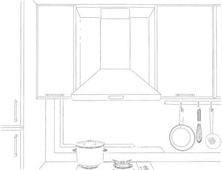Illustration noir et blanc de la hotte et des armoires avec des ustensiles de cuisine