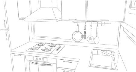 Esquisse d'un coin cuisine avec évier, égouttoir mural, hotte, plaque de cuisson et peinture géométrique sur le mur. Banque d'images