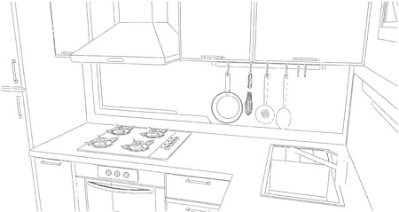 chimney pot: Sketch of kitchen corner with sink, wall pot rack, fume hood, cooktop and geometry painting on the wall.