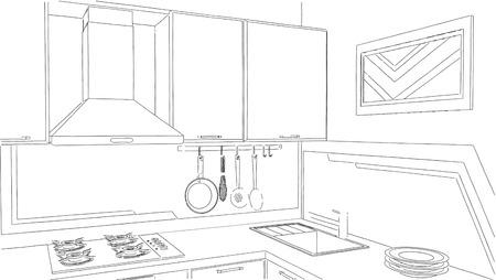 Dessin au trait crayon intérieur cuisine moderne coin.