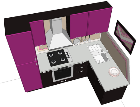 extractor: Abstract 3D illustration of small cute purple and brown  kitchen isolated. Top perspective view. Stock Photo