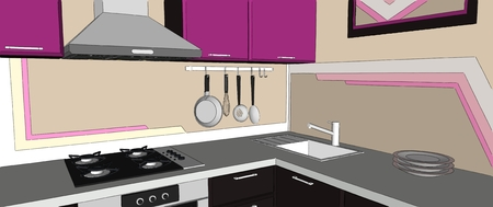 Close up of contemporary violet and brown kitchen corner interior with chimney hood, gas cooktop, sink and wall pot rack.