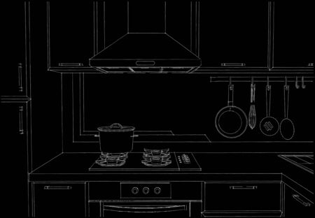 chimney pot: Kitchen hood with cupboards and appliances black and white layout. Front view