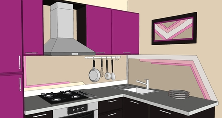 3D illustration of modern puprle and brown corner kitchen interior. Close up perspective view.