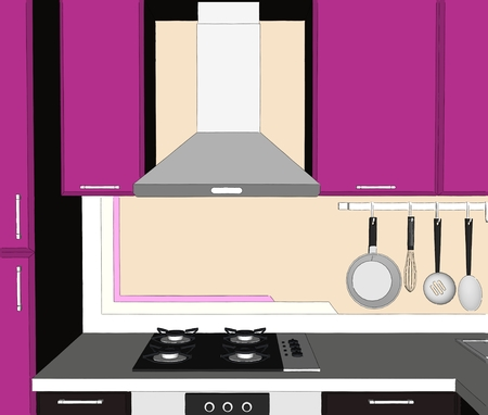Sketch abstract drawing of lilac and brown cupboards, kitchen chimney extractor hood and appliances
