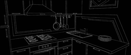 Sketch of kitchen corner with sink, wall pot rack, fume hood, cooktop and geometry painting on the wall. Outline black and white illustration.