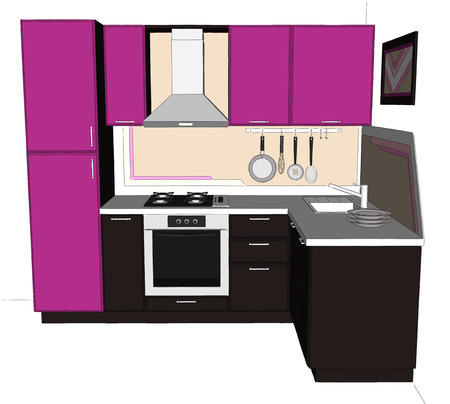 Hand drawn illustration of bright lilac and brown corner kitchen interior isolated. Perspective view. Stock Photo
