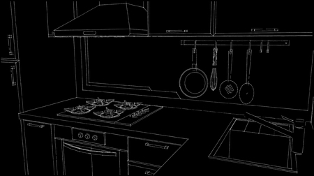 chimney pot: Kitchen corner with sink, wall pot rack, chimney hood, gas hob and geometry painting on the wall. Contour sketch black and white illustration. Stock Photo