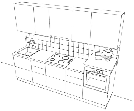 black appliances: Top view of small modular kitchen. Outline black and white sketch isolated. Stock Photo