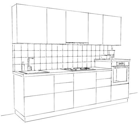 Modern Corner Kitchen Interior Sketch With Tile Splash Back Stock