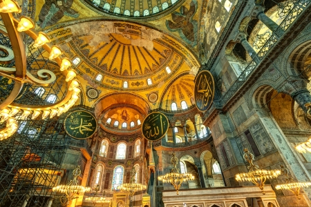 constantinople ancient: Interior of the Hagia Sophia in Istanbul, Turkey  Hagia Sophia is the greatest monument of Byzantine Culture  Editorial