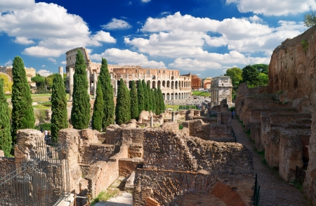palatine: View of the Colosseum from the Palatine Hill, Rome Editorial
