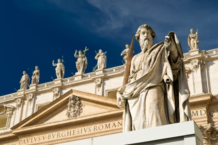 apostle paul: Statue Apostle Paul in front of the Basilica of St  Peter, Vatican