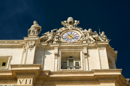 st peter s basilica: Clock on the top of St  Peter s Basilica in Vatican, Rome Editorial