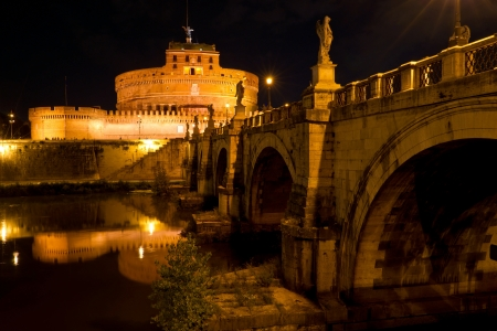 Castel Sant Angelo at night in Rome, Italy