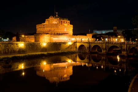 tiber: Castel Sant Angelo at night in Rome, Italy