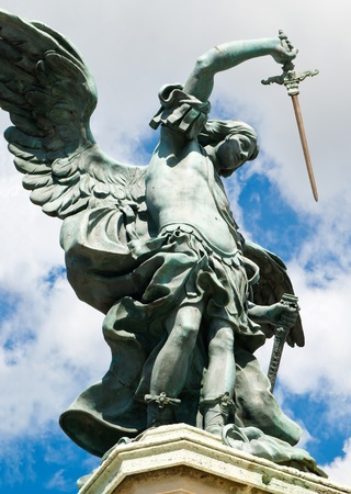 Saint Michael statue at top of Castel Sant Angelo in Rome, Italy