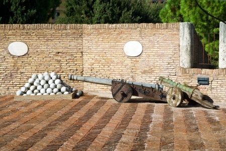 Medieval cannons in the tower of Castel Sant Angelo in Rome, Italy