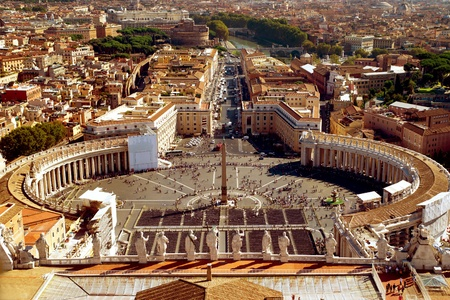 st  peter s  basilica: St  Peter Square from dome of St  Peter s Basilica, Rome, Italy Editorial