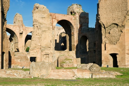 The ruins of the Baths of Caracalla, ancient roman public baths, in Rome, Italy photo