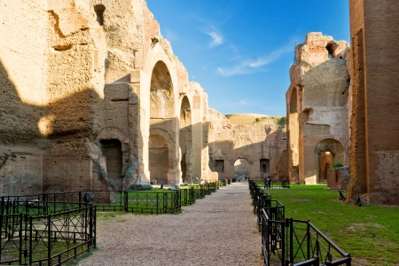 emporium: The ruins of the Baths of Caracalla, ancient roman public baths, in Rome, Italy