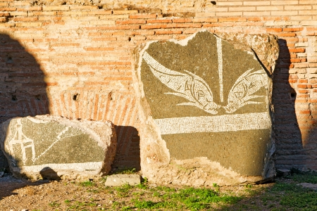 Part of the decoration of Baths of Caracalla in Rome, Italy photo
