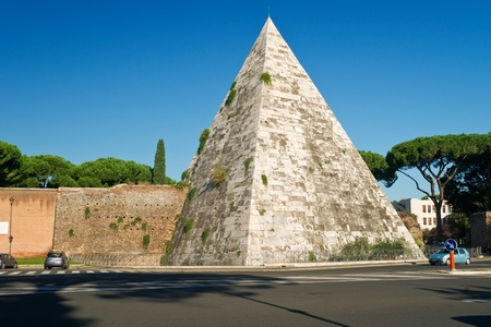The ancient Pyramid of Cestius in Rome, Italy photo
