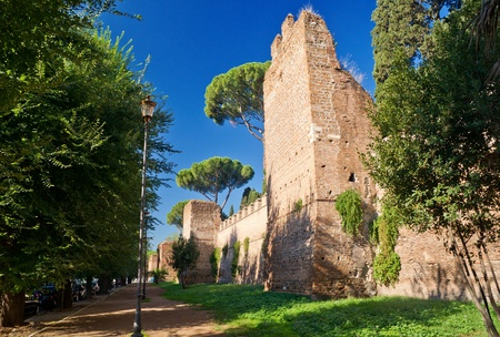 The ancient Aurelian Walls in Rome, Italy photo