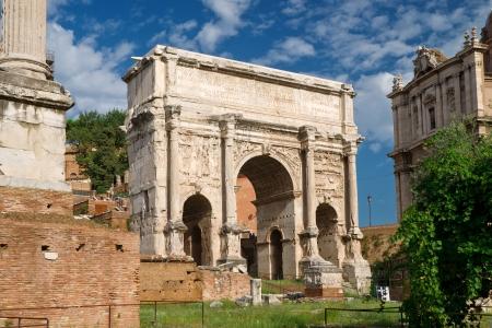 severus: Antique Arch of Emperor Septimius Severus at the Roman Forum, Rome Stock Photo