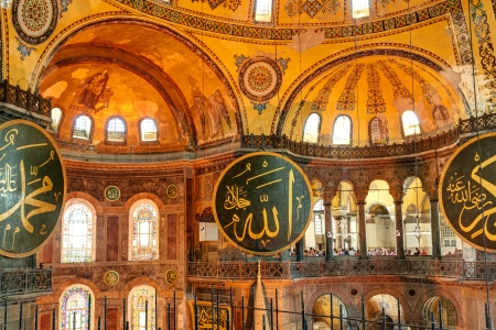 Interior of the Hagia Sophia on May 25, 2013 in Istanbul, Turkey  Hagia Sophia is the greatest monument of Byzantine Culture  It was built in the 6th century