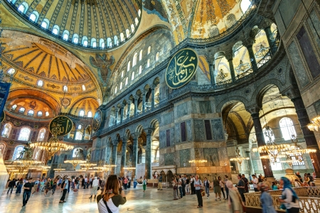 constantinople ancient: Tourists visiting the Hagia Sophia on may 25, 2013 in Istanbul, Turkey  Hagia Sophia is the greatest monument of Byzantine Culture  It was built in the 6th century  Editorial
