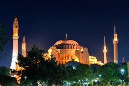 View of the Hagia Sophia at night in Istanbul, Turkey photo
