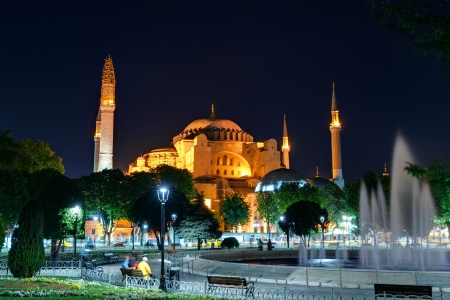 View of the Hagia Sophia at night in Istanbul, Turkey  Hagia Sophia is the greatest monument of Byzantine Culture  photo
