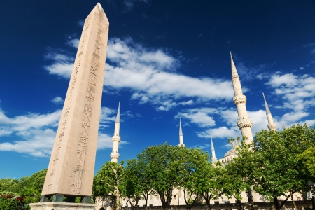 obelisk stone: The Obelisk of Theodosius and minarets of the Blue Mosque in Istanbul, Turkey  This is the Ancient Egyptian obelisk of Pharaoh Tutmoses III re-erected by the Roman emperor Theodosius I in the 4th cent