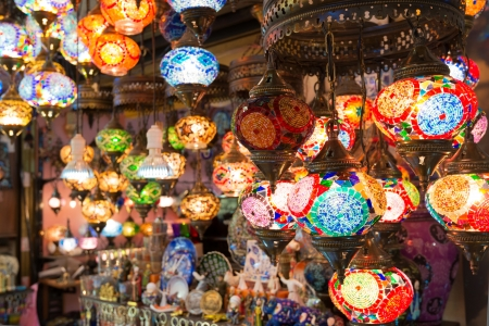 Colorful Turkish lanterns offered for sale at the Grand Bazaar in Istanbul, Turkey  It is a popular souvenir for tourists