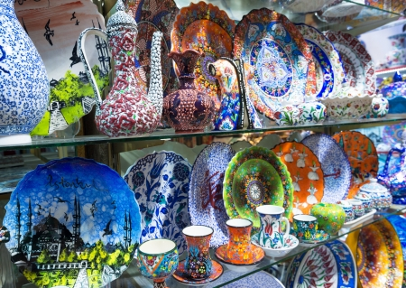Turkish ceramics of the Grand Bazaar on may 27, 2013 in Istanbul, Turkey  The Grand Bazaar is the oldest and the largest covered market in the world, with 61 covered streets and over 3,000 shops