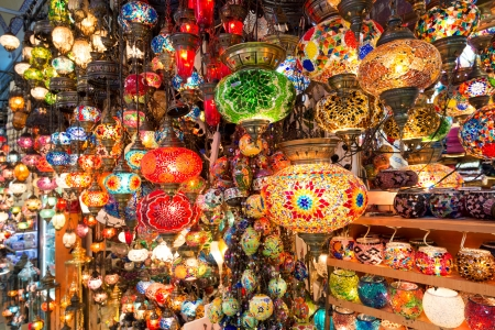 Colorful Turkish lanterns offered for sale at the Grand Bazaar on may 27, 2013 in Istanbul, Turkey  It is a popular souvenir for tourists  新闻类图片